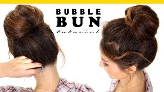 getlinkyoutube.com-2-Minute BUBBLE BUN Hairstyle | Easy Hairstyles for Medium Long Hair