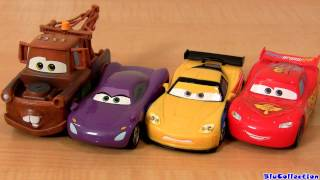 getlinkyoutube.com-CARS2 Pullback and Release cars Jeff Gorvette, Lightning Mcqueen, Holley Mater Racers Blucollection
