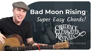 Bad Moon Rising - Creedence Clearwater Revival - Very Easy Beginner Song Guitar Lesson (BS-121)