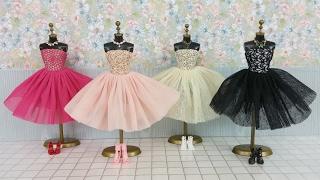 getlinkyoutube.com-Frozen Elsa Anna Barbie Dress & Doll DressバービードールドレスBoneca Roupas e Vestido de Barbie Bebek Elbisesi