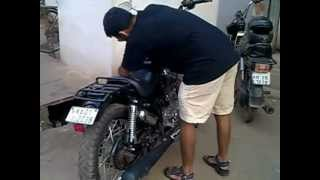 getlinkyoutube.com-Hand starting 4 Royal Enfield Motorcycles in a row.