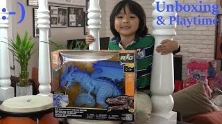 getlinkyoutube.com-Awesome Dragon and Dinosaur Toys: Unboxing a Smoke-Breathing Blue Ice Dragon