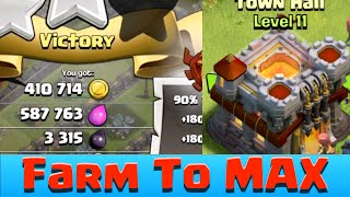 getlinkyoutube.com-Clash of Clans TH11 First ATTACK AFTER UPDATE INSANE LOOT! Farm TH11 TO MAX!