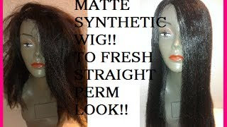 getlinkyoutube.com-Straighten Your Old Matted Synthetic Wigs! No Tools! No Chemicals!