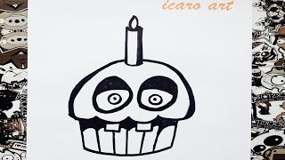 getlinkyoutube.com-Como dibujar a cupcake de five nights at freddy's | how to draw cupcake