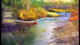 getlinkyoutube.com-Paint Along with Larry Hamilton - Oct.15, 2014 Oil Painting - Bridge and Boat