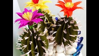 getlinkyoutube.com-Paper Cactus with Flower (Flower # 74)