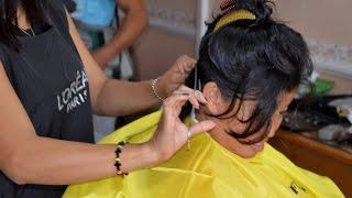 getlinkyoutube.com-Woman long hair cutting off