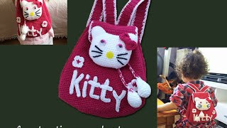 getlinkyoutube.com-How to crochet a backpack hello kitty كروشيه محفظة اطفال