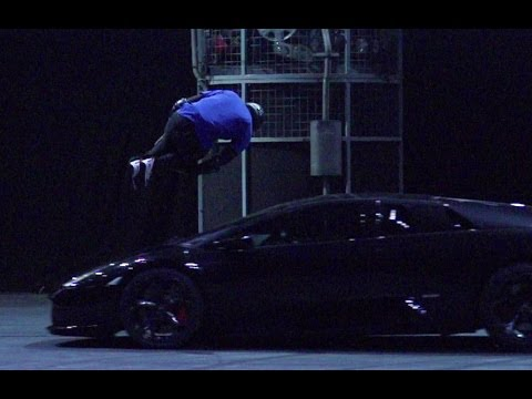 Free Runner Jumps Lamborghini in Slow Mo - Top Gear Live 201