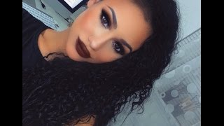 getlinkyoutube.com-Dramatic Black Smokey Eye Makeup Tutorial: Brown Matte Lips!