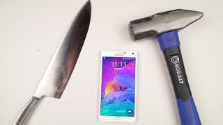 getlinkyoutube.com-Samsung Galaxy Note 4 Hammer & Knife Test