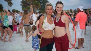 Beautiful Beach Drum Circle Pretty Dancers in 4k UHD