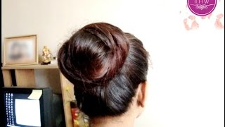 getlinkyoutube.com-Huge High Bun making by Rapunzel Santu with Knee Length Silky Hair
