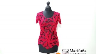getlinkyoutube.com-How to crochet red blouse blusa top free pattern tutorial by marifu6a para verano