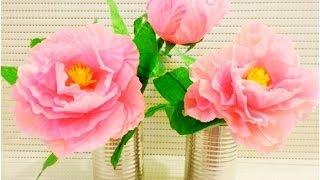 getlinkyoutube.com-DIY : How to Make Peony Paper Flower for Room Decoration