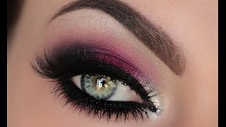 getlinkyoutube.com-Holiday Berry Silver & Crystal Smokey Eye Tutorial