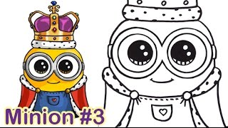 getlinkyoutube.com-How to Draw Minion King Bob Cute Step by step