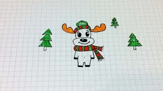 getlinkyoutube.com-Простые рисунки #164 Олень в шапочке =)