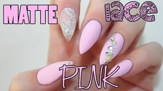 getlinkyoutube.com-Matte Pink Lace Acrylic Nails