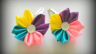 getlinkyoutube.com-Цветы канзаши Заколка клик клак своими руками