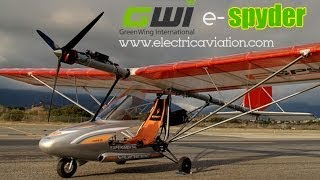 Eric Lindbergh flies the e Spyder electric aircraft from Greenwing.