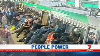 People Power Frees Man From Train Gap | Seven News Perth | 6/08/2014