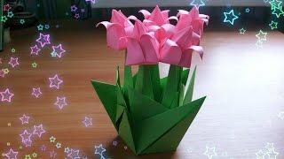 Композиция Из Тюльпан Оригами в Подарок Маме, Бабушке Своими Руками. Цветы Из Бумаги