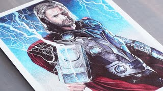 getlinkyoutube.com-Thor Pen Drawing - Marvel - DeMoose Art
