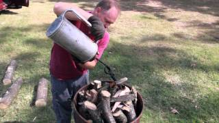 getlinkyoutube.com-Producing Charcoal with a Barrel Kiln