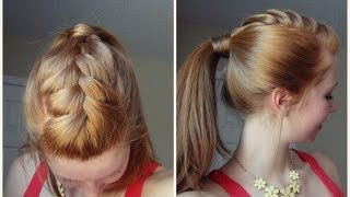 getlinkyoutube.com-Spring Hairstyle - Ponytail with French Braid! ♥