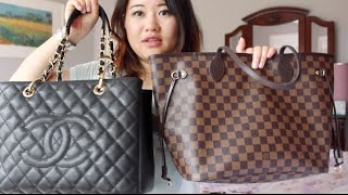 getlinkyoutube.com-Comparison of LV Neverful MM and Chanel GST
