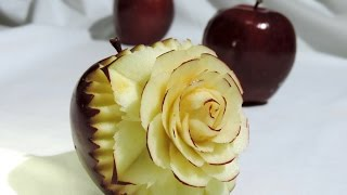 getlinkyoutube.com-How to carve a flower in apple - J.Pereira Art Carving Fruits and Vegetables