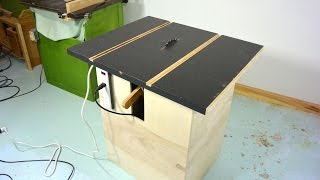 Homemade table saw stand and alignment