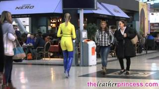 getlinkyoutube.com-Visiting Coffee Shop in Latex Rubber Catsuit & Thigh Boots