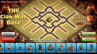 COC l One Of The Best TH8 Clan War Base ll Anti 3 Stars (Dragons Lvl 3-Hogs Lvl 4)
