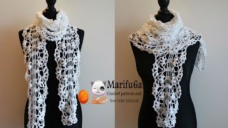 getlinkyoutube.com-How to crochet white lace scarf free pattern tutorial
