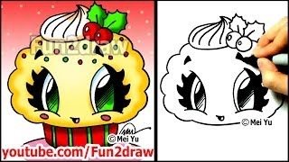 getlinkyoutube.com-Christmas Desserts - How to Draw a Christmas Cupcake with Holly - Fun2draw food