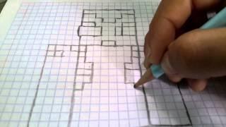 Como dibujar a vegetta777 en cuadrícula/parte 1
