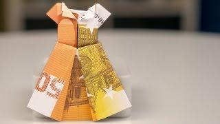 getlinkyoutube.com-Geldgeschenke Hochzeit, Kleid aus Geldschein falten