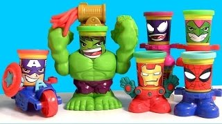 getlinkyoutube.com-Play Doh CAN HEADS MARVEL Smashdown Hulk Featuring Iron Man, Spiderman, Venom, Captain America 2015