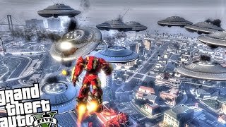 getlinkyoutube.com-GTA 5 Iron Man Mod - HULKBUSTER VS UFO INVASION! (Epic Battle) Grand Theft Auto 5 PC Iron Man