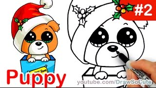 getlinkyoutube.com-How to draw Puppy Christmas Present step by step Easy Holiday Special