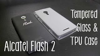 Alcatel OneTouch Flash 2 Tempered Glass & TPU Case