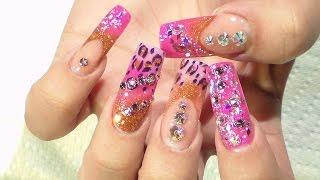 getlinkyoutube.com-Tutorial: Uñas Rosadas y Animal Print - Natos Nails - Uñas Acrilicas - Acrylic Nails