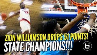 getlinkyoutube.com-Zion Williamson Drops 51 & Chandler Lindsey Poster in State Championship! Raw Game Highlights!