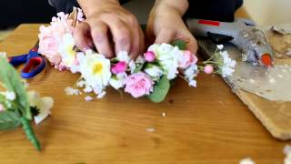 getlinkyoutube.com-DIY Flower crown - adjustable to fit any head size