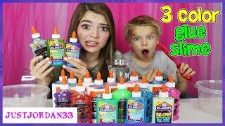 3 Colors Of Glue Slime Challenge! / JustJordan33