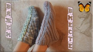 getlinkyoutube.com-Вязаные тапочки (носки) спицами, без швов. Knitted slippers.