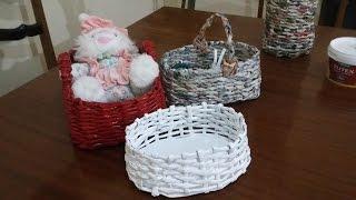 getlinkyoutube.com-Gazete kağıdıyla oval örgü sepet yapılışı /Oval basket with old newspaper